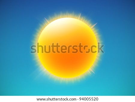 Vector illustration of cool single weather icon - shiny sun in the blue sky