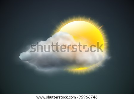 Vector illustration of cool single weather icon - sun with cloud floats in the dark sky