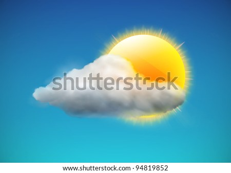 Vector illustration of cool single weather icon - sun with cloud floats in the sky