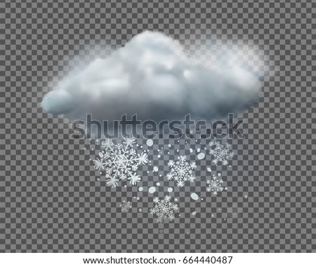 Vector illustration of cool single weather icon with cloud and snow on transparent background