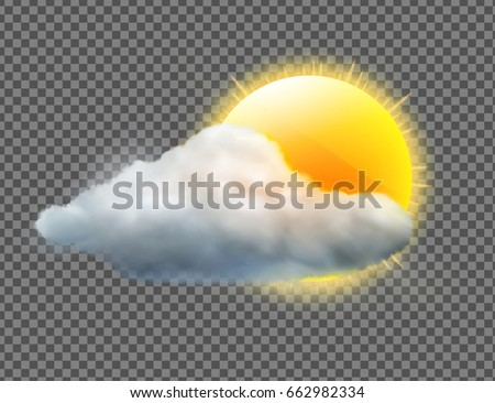 Vector illustration of cool single weather icon with sun and cloud floats isolated on transparent background