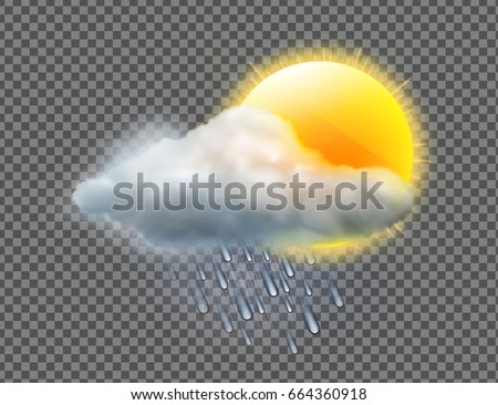 Vector illustration of cool single weather icon with sun, raincloud and raindrops isolated on transparent background