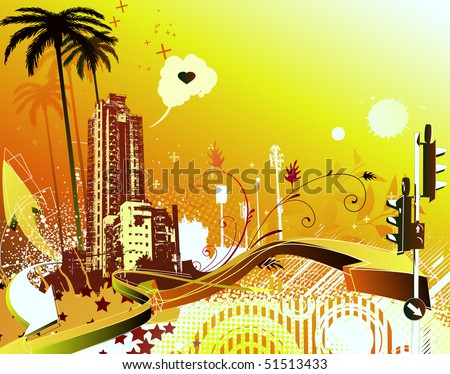 Vector illustration of cool summer urban grunge background