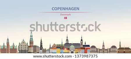 Vector illustration of Copenhagen city skyline on colorful gradient beautiful day sky background