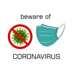 Vector illustration of Corona virus with red stop sign and mask on white background. Pandemic and corona virus outbreaks. mask to fight against Corona virus.Concept of fight against Many Virus attack.