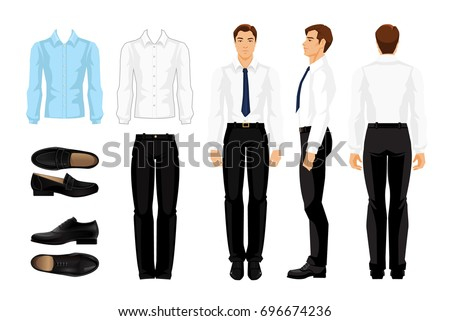 Vector illustration of corporate dress code. Men's shirt, black pants and shoes isolated on white background. Businessman or professor in  formal clothes. Front view, side and back view man.