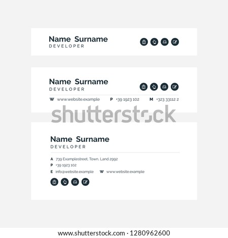 Vector Illustration Of Corporate Email Signature Design. Black Minimal Design.