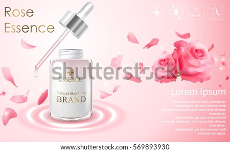 Vector illustration of Cosmetic ads template with essence bottle and red rose on light pink background