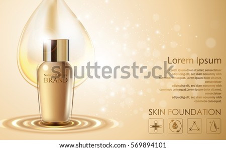 Vector illustration of Cosmetic ads template with golden bottle package design