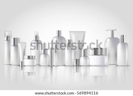 Vector illustration of Cosmetic bottle mock up set isolated packages on white background