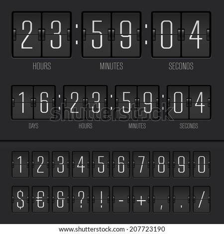 Vector illustration of countdown timer and narrow scoreboard numbers