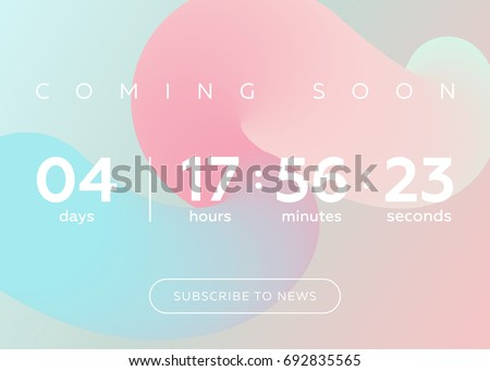 Vector Illustration of Countdown Timer. Digital Clock Design on Pastel Abstract Fluid Background. Futuristic Counter for Website, Interface, Wallpaper, Application, Game.