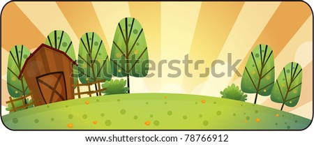 Vector illustration of country scene with brown barn.