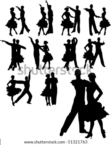 vector illustration of couple dancing set