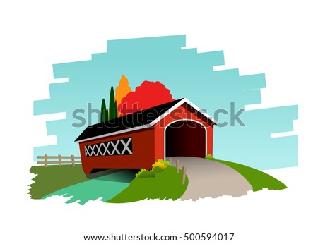 Vector illustration of covered bridge