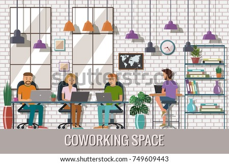 the creative office. Wonderful Creative Vector Illustration Of Coworking Space Working Place Office People  Working In The Creative With The Creative Office