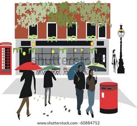 Vector illustration of cozy London pub with pedestrians walking in rain.