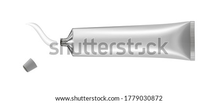 Vector illustration of cream or toothpaste tube. Ointment. Salve. Glue tube. White oil paint smear. Cosmetic product. 3d mockup. Silver tube.