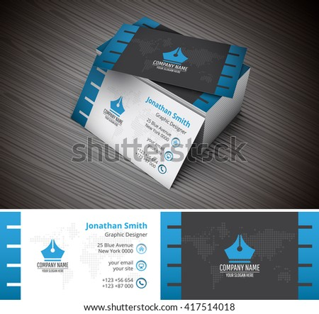 Professional modern business card creative template design vector illustration of creative business card template wajeb Image collections