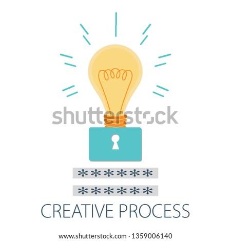"Vector illustration of creative concept design with ""creative process"" creative design idea."