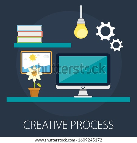 "Vector illustration of creative concept design with ""creative process"" creative design idea."