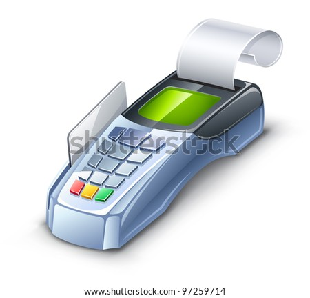 Vector illustration of credit card reader on white background.