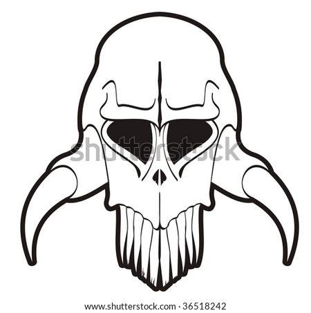 vector illustration of creepy skull ideal for digital stamp, decal or tattoo