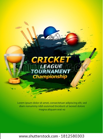 vector Illustration of cricket player ,Creative poster or banner design with background for Cricket Championship poster with illustration of batsman and bowler playing cricket championship