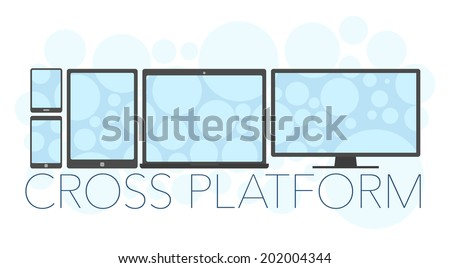 Vector illustration of cross platform concept, mobile phone, tablet pc, laptop and pc