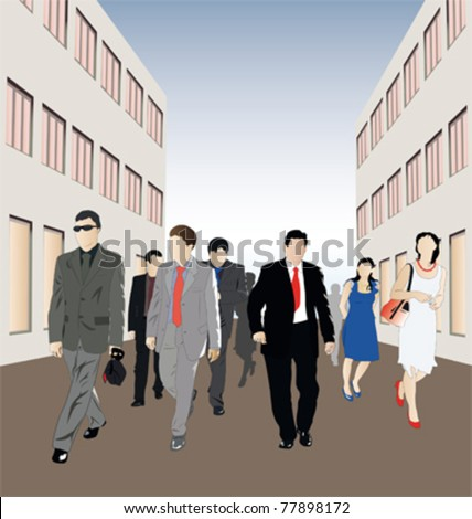 Vector illustration of crowd walk down the street