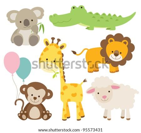 Vector illustration of cute animal set including koala, crocodile, giraffe, monkey, lion, and sheep.