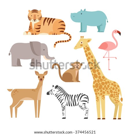 Vector illustration of cute animal set including monkey, giraffe, elephant, zebra, tiger, hippopotamus, antelope, deer and flamingo.