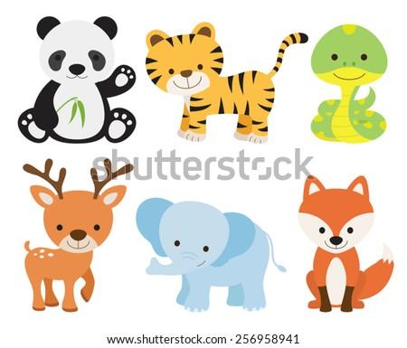 Vector illustration of cute animal set including panda, tiger, deer, elephant, fox, and snake.