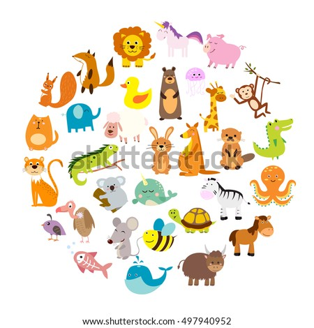 Vector illustration of cute animals and birds: alligator, Fox, giraffe, bear, cat, dog, elephant, Zebra, turtle, rabbit, iguana, monkey, whale, unicorn, Koala