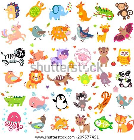 Vector illustration of cute animals and birds: quail, giraffe, vampire bat, cow, sheep, bear, owl, whale, panda, lion, fox, quail, tiger, turtle, kangaroo, monkey, jellyfish, unicorn, numbat, jungle
