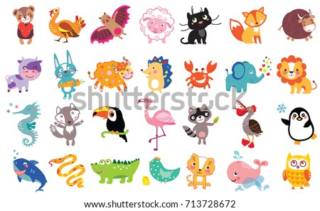 Vector illustration of cute animals and birds set: bear, turkey, bat, sheep, panther, fox, bull, cow, hare, toucan, flamingo, shark, owl, pelican, crab, lion, sea horse, wolf, raccoon, whale, boa.