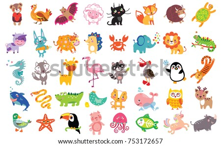 Vector illustration of cute animals and birds set: rhinoceros, starfish, unicorn, sheep, panther, fox, bull, cow, hare, yak, hedgehog, toucan, flamingo, shark, owl, pelican, crab, lion, sea horse, wol