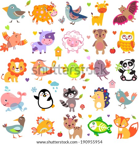 Vector illustration of cute animals and birds Yak quail giraffe vampire bat cow sheep bear owl raccoon hedgehog whale panda lion deer x-ray fish fox dove crow chicken duck quail