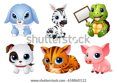 Vector illustration of Cute Animals cartoon set