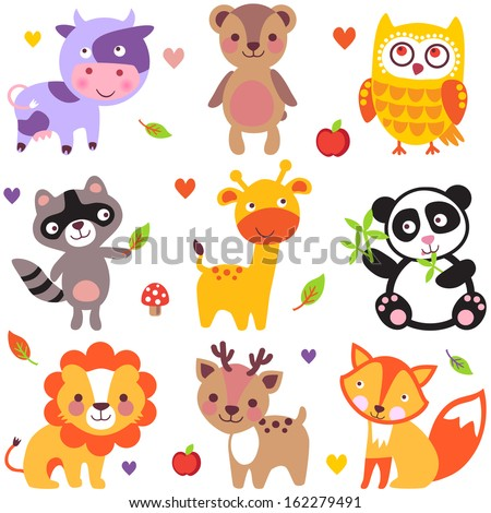 Vector illustration of cute animals cow bear owl raccoon giraffe panda lion deer and fox