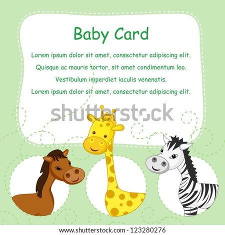 vector illustration of cute animals on colorful greeting - stock vector
