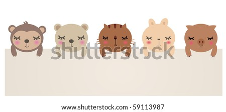 Vector Illustration of cute animals with blank sign.bear,cat,rabbit,pig and monkey.