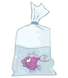 Vector Illustration of  Cute Aquarium Fish. Cartoon Character.