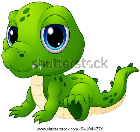 Vector illustration of Cute baby crocodile cartoon