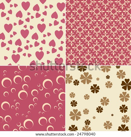 Vector illustration of cute backgrounds with hearts and flower motives ...