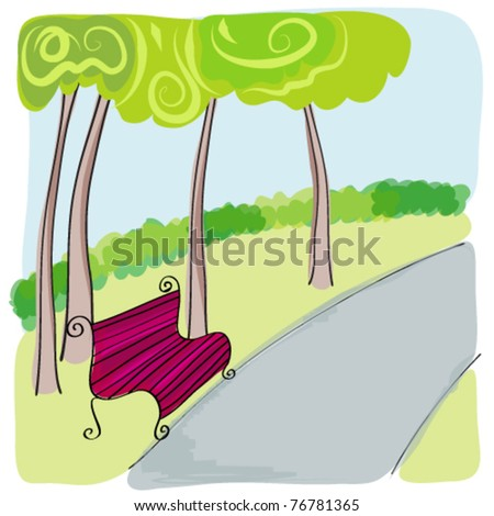Vector illustration of cute bench in park