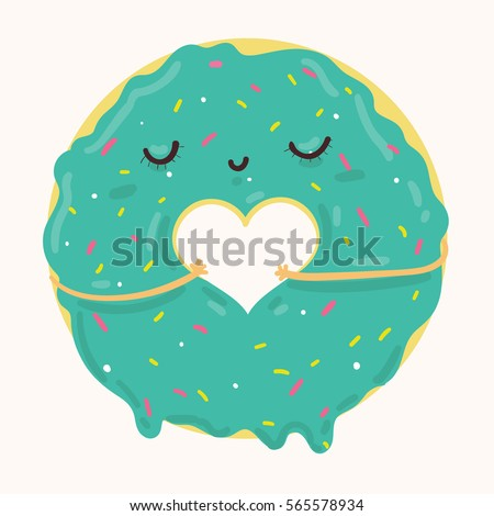 Vector illustration of cute blue icing cartoon donut with heart and face, can be used for valentine's day greeting cards, party invitations, posters, prints and books
