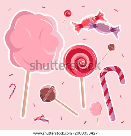 Vector illustration of cute candy on the pink background. Sweet candies. Stripes candy. Pink cotton candy. Strawberry flavor of candy. Chocolate lollipop.