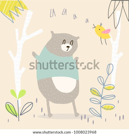 Vector illustration of cute cartoon bear wearing blue shirt in the forest with a bird singing in spring, summer time. Graphic elements for kids. Childish hand drawn bear. Cover, wallpaper, fabric.