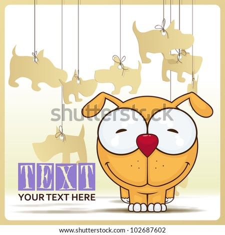 Vector illustration of cute cartoon dog and paper dogs on a background.